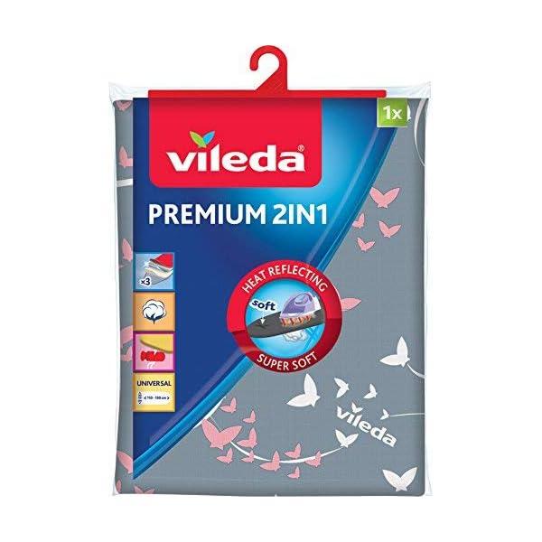 Vileda Premium 2 en 1 – Funda de planchar, tres capas, tamaño universal, suave, color gris y blanco, medidas: 130 x 45 cm 51RxdT7T7iL