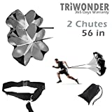 Triwonder 56 inch Speed Training Resistance Parachute Running Chute Power (Black - 56in with 2 chutes)