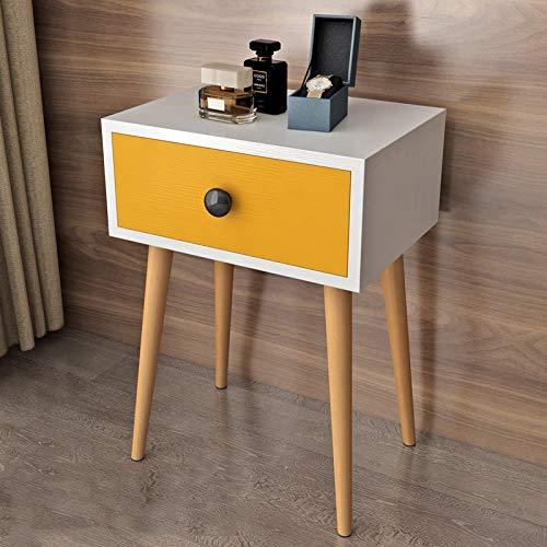 White ZfgG Bedside Table Solid Wood Bedside Cabinet Bedroom Locker Drawers Storage Cabinet (color   White)