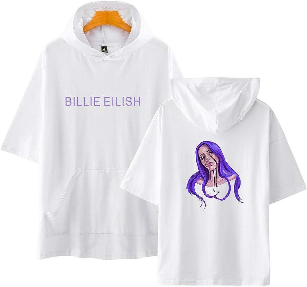 AAZZYUN Billie Eilish Sport-Sweatshirt Hoodie M/ädchen T-Shirt Loose Plus Size Kurzarm 3D-bedruckter Hoodie Unisex