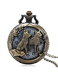 Men's Pocket Watch, Bronze Hollow Out Wolf Quartz Necklace Chain Pocket Watch, Gifts for Men