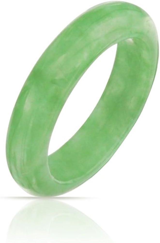 Bling Jewelry teñida verde jade Piedra Preciosa de cinta Moderno Apilable Anillo 5mm
