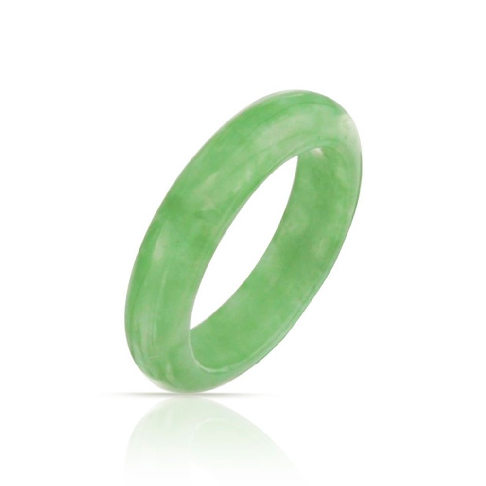 Dyed Green Jade Band Modern Ring Bling Jewelry WJ-SWR5013
