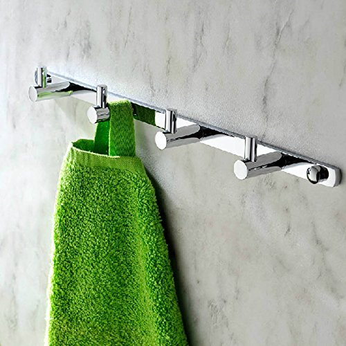 KES Bathroom Solid Brass Hook Rail/Rack with 4 Hooks Wall Mount Polished Chrome, A1060H4