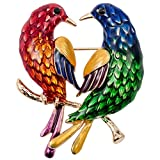 Stephenie Couple Bird Brooch Pin Pendant Valentines Day Element Jewelry For Women Her