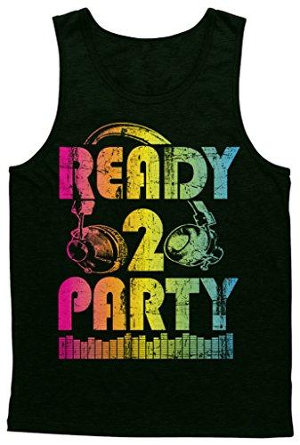 Blittzen Mens Tank Top Ready 2 Party, Medium, Black