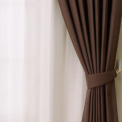 カーテンチアフル オーダーカーテン エコテックセット 店舗 ブラウン レース付き ディスカウント  遮熱 :幅220cm×丈230cm 4枚セット 遮光 ミラーレース 防炎