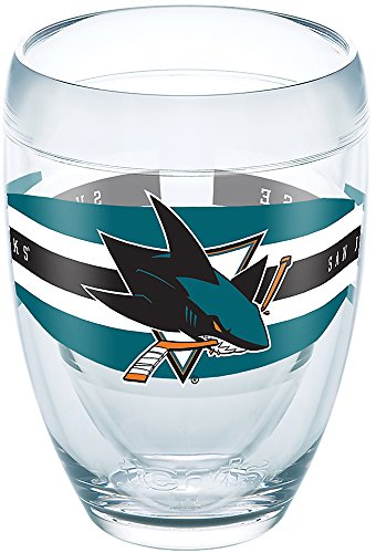 (Tervis 1265615 NHL San Jose Sharks Select Tumbler with Wrap 9oz Stemless Wine Glass, Clear)