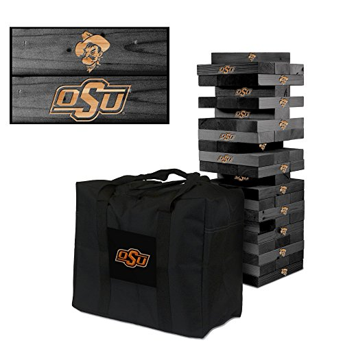 NCAA Oklahoma State Cowboys 850323Oklahoma State University Cowboys Onyx Stained Giant Wooden Tumble Tower Game, Multicolor, One Size by Victory Tailgate