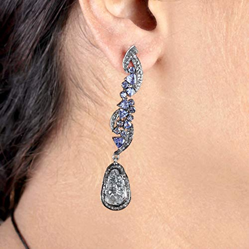(5.95 Ct. Natural Diamond Pave Tanzanite Designer Dangle Earrings 925 Silver Fine Handmade Vintage Jewelry Valentine Gift For Her Same Day Shipping)