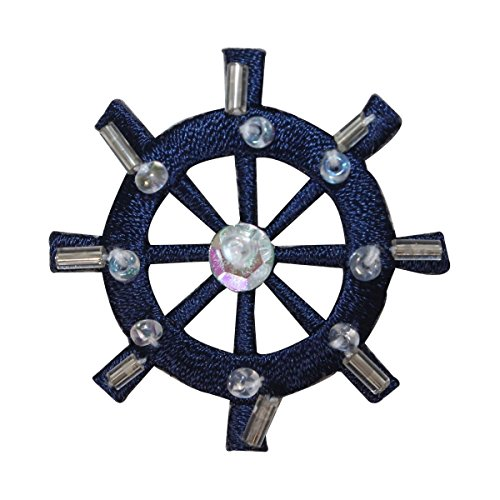 ID 2694 Beaded Sequin Ship Wheel Patch Sail Boat Embroidered Iron On Applique