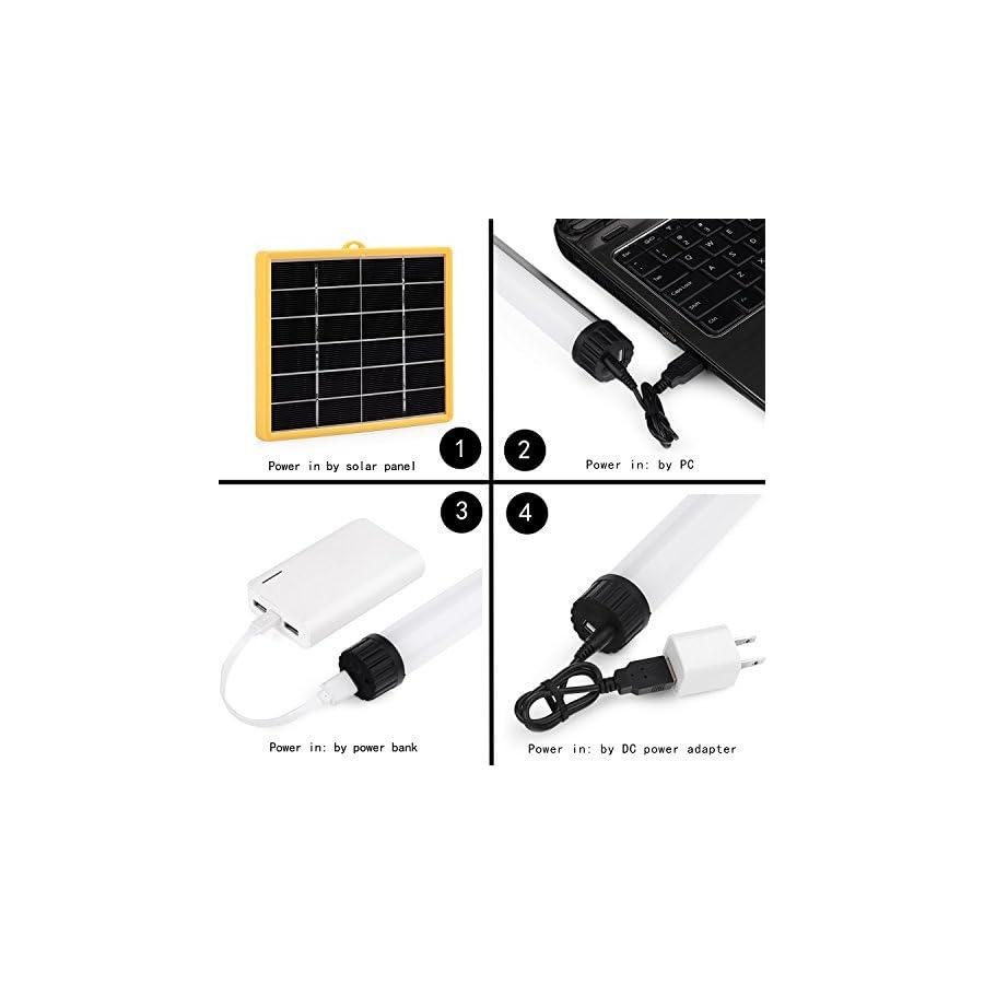 Univivi Solar LED Flashlight, Portable Multi Functional Adjustable Brightness Led Hanging Lamp/Lantern, And Power Charger for 5V USB Charged Device