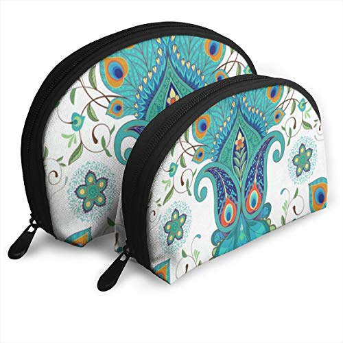Makeup Bag Paisley Flowers With Peacock Feathers Portable Shell Cosmetic Bags Organizer For Women