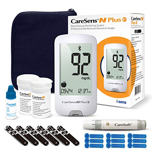 CareSens N Plus Bluetooth Blood Diabetes Monitoring Kit (Auto Coding) – 1 Glucose Meter with 100 Glucose Test Strips, 1…