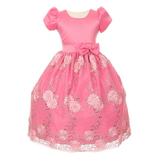 - Big Girls Bubble Gum Pink Satin Sequin Tulle Flower Girl Easter Dress 12