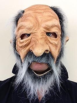 CALVO ANTIGUO Hombre Prospector Completo de Látex Máscara Gris Barba Abuelo Disfraz