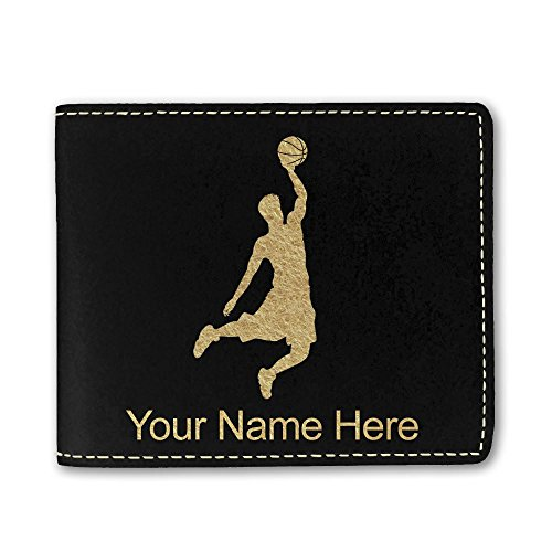 Faux Leather Wallet, Basketball Slam Dunk Man, Personalized Engraving Included (Black) ()