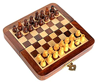 Zap Impex Premium 7 x 7 inch Staunton chess set rosewood folding wooden magnetic travel chess board game classic, premium quality