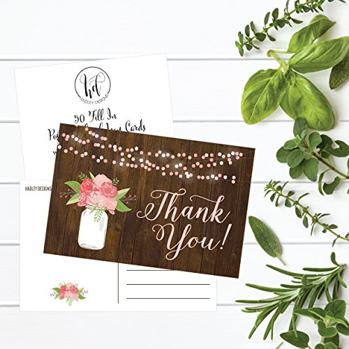 50 4x6 Rustic Floral Thank You Postcards Bulk, Modern Cute Flower Matte Blank Thank You Note Card Stationery For Wedding, Bridesmaid Bridal or Baby Shower, Teachers, Appreciation, Religious, Business Photo #4