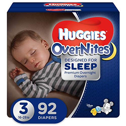 HUGGIES OverNites Diapers, Size 3 (16-28 lb.), 92 ct, Overnight Diapers, Giga Jr pack