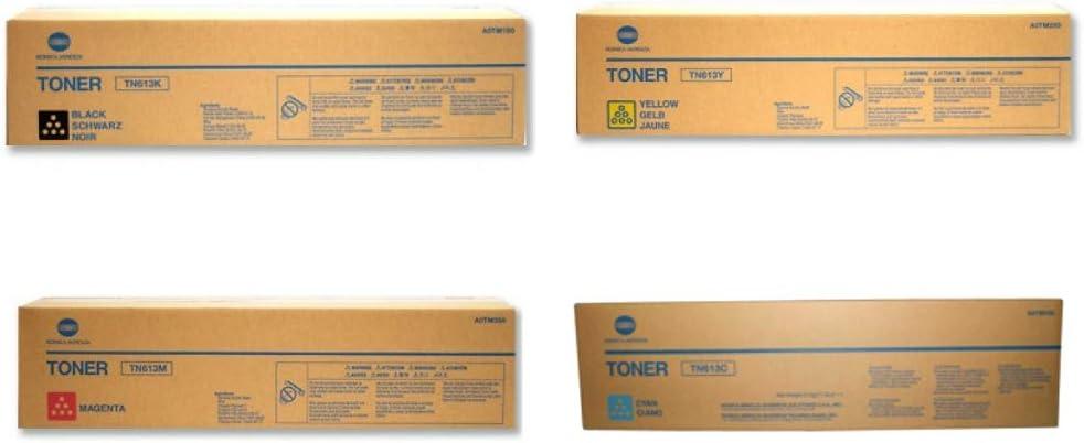 C652 C552 Konica Minolta TN613 4-Color Toner Cartridge Set for bizhub C452