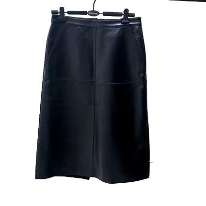 DAHDXD Falda de Piel de Oveja Cuero Genuino Moda Femenina Diseño ...
