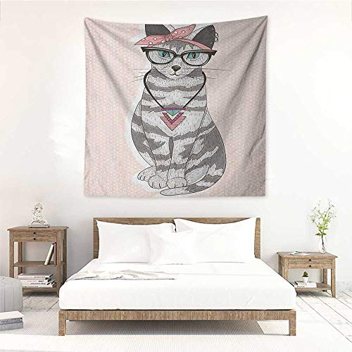 Teen Room Square Tapestry Stylish Kitty Cat with Glasses Tribal Necklace Clasp Fashion Design Print Wall Hanging Carpet Throw 63W x 63L INCH Pale Pink ()