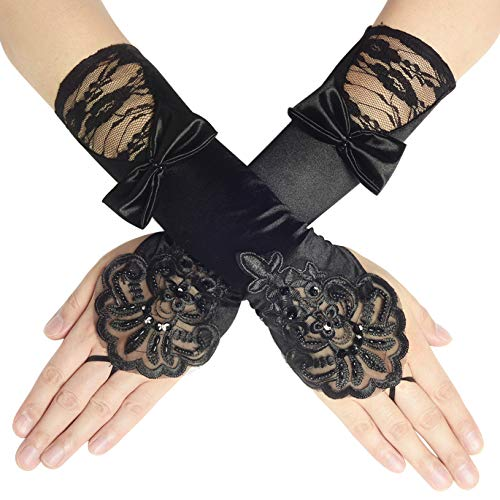 BABEYOND Long Opera Party 20s Satin Gloves Stretchy Adult Size Elbow Length 20.5