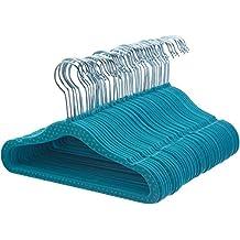 AmazonBasics Kids Velvet Hangers - 50-Pack, Blue Polka Dot