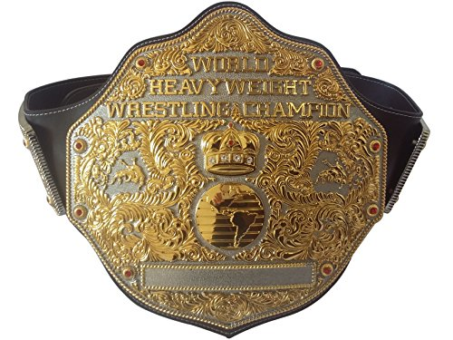 Fandu Belts Big Gold Adult Replica Real Leather Dual Plate Wrestling Championship Belt Title 8mm Thick 6.8lbs Trophy by Fandu Belts