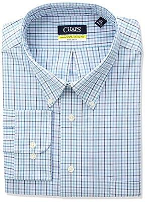 Chaps Men's Dress Shirt Regular Fit Stretch Buttondown Collar Plaid,