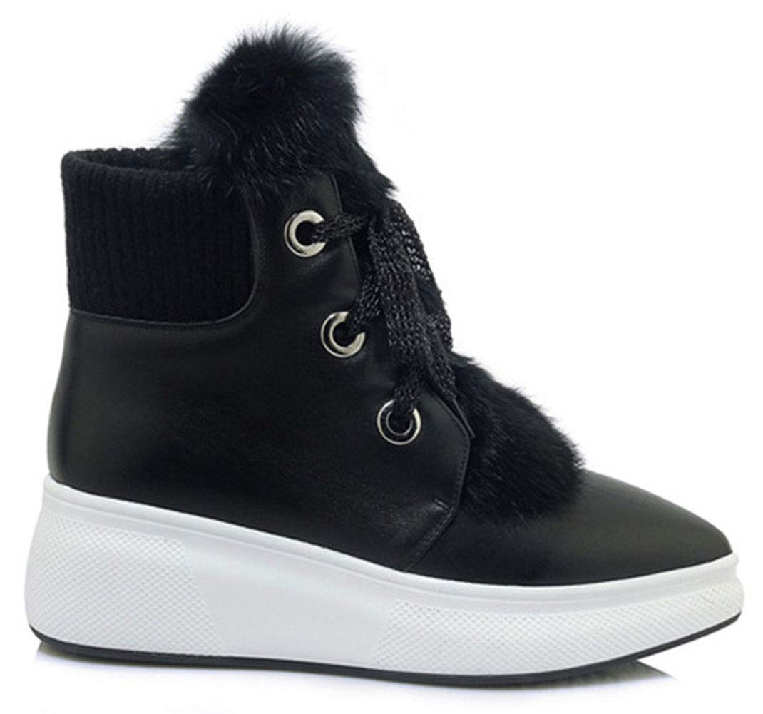 HRN Frauen Winter Schneeschuhe Leder Spitze Keilabsatz Stiefel flusen schnüren einfarbig lässige Mode Stiefel