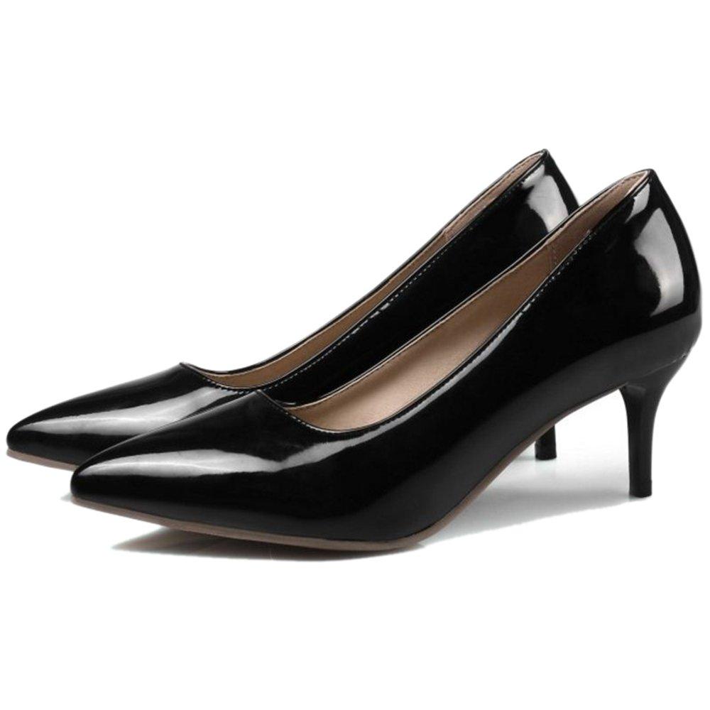 Smilice Women Plus Size US 0-13 Mid Heel Pointy Toe New Dress Pumps 6 Colors Available New B074RGCVVF 41 EU = US 9.5 = 25.5 CM Black
