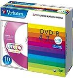 三菱ケミカルメディア Verbatim 1回記録用 DVD-R DHR47JM10V1 (5色レーベル/片面1層/1-16倍速/10枚)