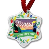 Personalized Name Christmas Ornament, Lake retro design Twin Lakes NEONBLOND
