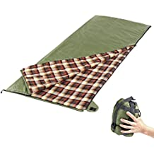 """Camp Solutions Summer Flannel Lined Sleeping Bag Lightweight Portable for Camping,Traveling, Hiking, Office nap, Backpacking (L 74.8"""" x W 29.5"""")"""