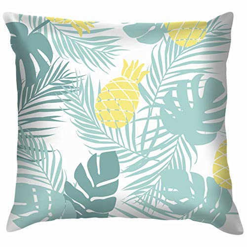 Pinetropical Leaves Summer Exotic Funny Square Throw Pillow