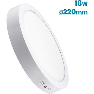(LA) Pack Plafón Downlight LED Circular 18W superficie. 1600 lumenes reales. Driver incluido. (Blanco Calido (3000K), 1 Unidad)