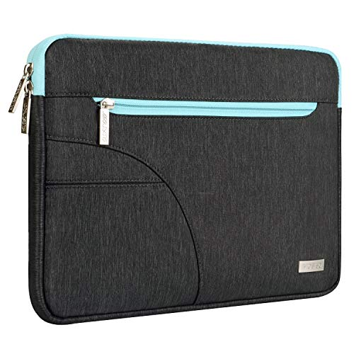 MOSISO Laptop Sleeve Bag Compatible 13-13.3 Inch MacBook Pro, MacBook Air, Ultrabook Netbook Tablet, Polyester Protective Carrying Case Cover, Black & Hot Blue