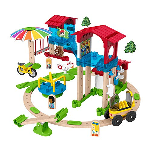 Fisher-Price Wonder Makers Slide & Ride Schoolyard - 75+ Piece Building and Wooden Track Play Set for Ages 3 Years & Up (Slide Maker)