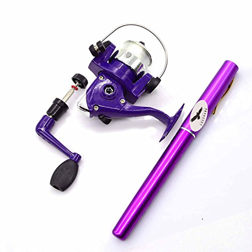 Freehawk Mini Carbon Fiber Telescopic Pen Fishing Rod Pocket Pen Fishing Pole Pocket Travel Fishing Rod Sea Fishing Rods + 2000 Aluminum Spinning Fishing Reel + Fishing Line (Purple )