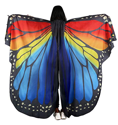 Dance Fairy Monarch Butterfly Wings Cape Dance Costume for Kids/Adult (Rainbow-Adult Hand Wing)