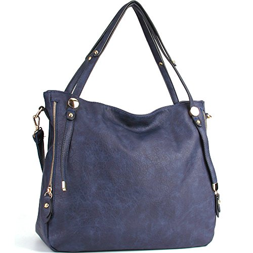 - WISHESGEM Women Handbags PU Leather Tote Shoulder Bags Satchel Zipper Cross Body Bags Blue