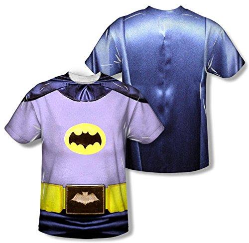 Batman Classic TV - Batman Costume (Front/Back Print) T-Shirt Size (New Batman Affleck Costume)