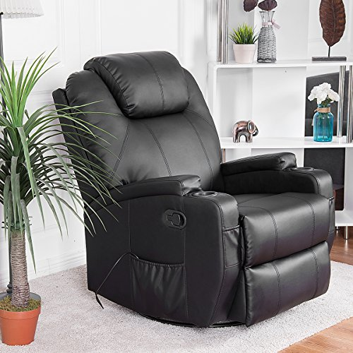 Giantex Leather Massage Recliner Chair Electric Heated Sofa Swivel Ergonomic Power Recliner Living Room Lounge Swivel Lift Massaging Reclining Chair w/Remote Control Cup Holder, Black