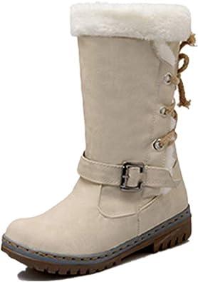 Botte Longue Femme Hiver Fourrées Plate Daim Cuir Neige Winter Knee Boots Chaussures Talon Chaud Lacets Elegante Noir Marron Beige Kaki Jaune 34 46