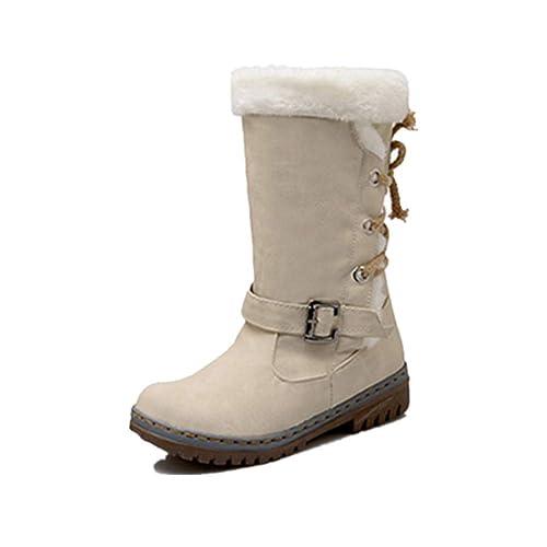88c81eb8dac JOYTO Botte Longue Femme Hiver Fourrées Plate Daim Cuir Neige Winter Knee  Boots Chaussures Talon Chaud
