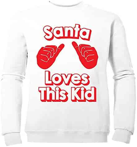 881c4b441 Batch1 Big Girls' Santa Loves This Kid Festive Fun Xmas Sweatshirt