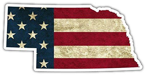 "Nebraska State Shaped US Flag American Flag Vinyl Bumper Sticker Decal 3""X 5"""
