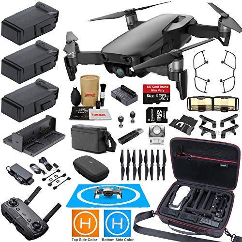 DJI Mavic Air Fly More Combo (Onyx Black) Elite Bundle with 3 Batteries, 4K Camera Gimbal, Professional Carrying Case and Must Have Accessories from DJI